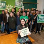 Members of the South East Essex Green Party in the new Office, opened by Amelia Womack