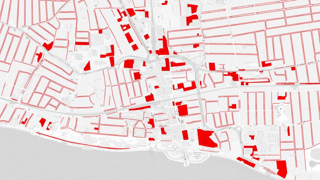 Image: A map showing the land dedicated to car parking in Southend central (shown in red).